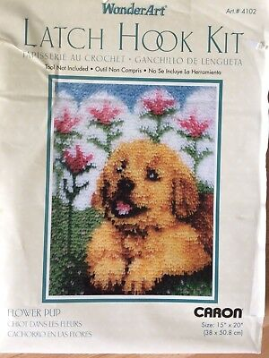 WonderArt 4102 Latch Hook Kit NEW NIB 15X20 FLOWER PUP Arts Crafts by Caron
