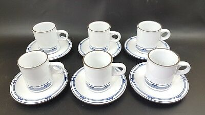 Vintage Hornsea Danube Pottery Set of 6 White Blue Espresso Coffee Cups Saucers