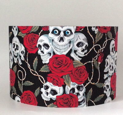 Red Roses and Skulls, Large Fabric Light Shade