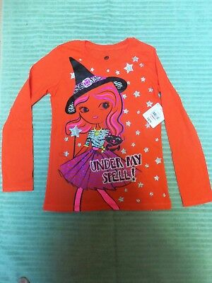 "NWT Glittery Halloween ""Under My Spell"" LS T-Shirt Girl's Orange Size M (7-8)"