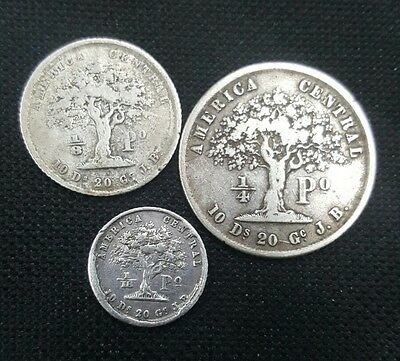 COSTA RICA: SET OF 3 1850's PESOS (1/16, 1/8 & 1/4 SILVER COINS) COMPLETE