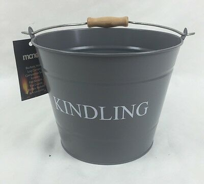 Manor Reproductions 0361 Round Grey Metal Kindling Bucket SMALL