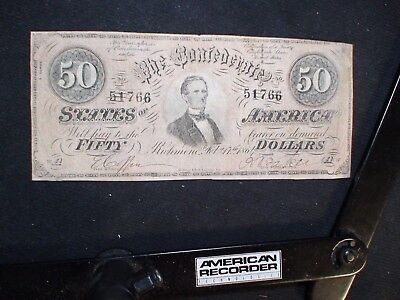 CONFEDERATE STATES OF AMERICA FIFTY DOLLAR CS66 CIVIL WAR $50 NOTE Feb 17th,1864