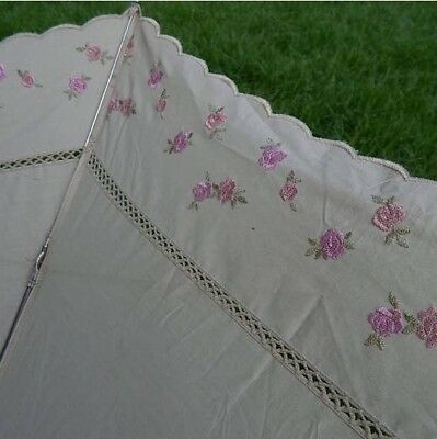 Vintage Natural Label Embroidered Roses Umbrella Parasol with woven handle