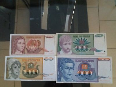Lot 4 billets Yougoslavie de 10000,50000,100000 et 500000 Dinara 1992 1993