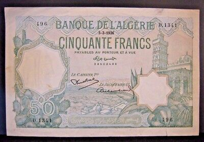 1936 Algeria Bank of, 50 Francs Higher Grade Note sm tear ** FREE U.S SHIPPING**