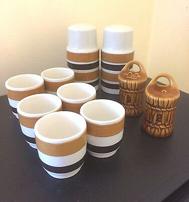 VTG 1950s / 60s? POTTERY KITCHENWARE BUNDLE 2 x SALT + PEPPER POT SETS 6 EGGCUPS