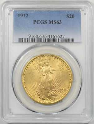 1912 $20 St Gaudens Gold Pcgs Ms-63.   Another Coin From The Reeded Edge!