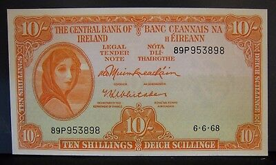1968 Ireland, Central Bank of, 10 Shillings Note CU Nice  ** FREE U.S SHIPPING**