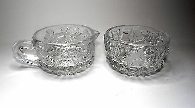 Glass Sugar Bowl and Cream Jug Set, Rich Decor Of Frosted And Clear Grapevine .