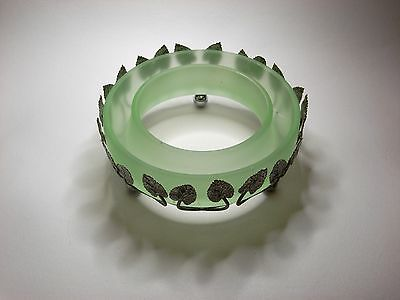 Vintage c.1930's Bagley Posy Flower Trough Frosted Green Glass in Metal Basket
