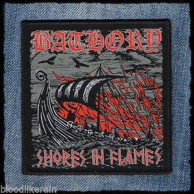 Bathory Shores In Flames Hammerheart viking metal  limited woven patch aufnäher