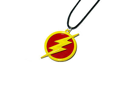 The Flash Superhero Logo Lightning Bolt Red And Yellow Circle Necklace Dc Comics