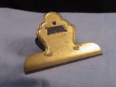 Antique Victorian M Myers & Son Gilt Desktop Letter Paper Document Bull Dog Clip