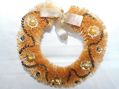 Antique 10 Inch Bottle Brush Wreath with Mercury Beads & Ornaments