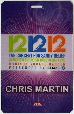 Chris Martin 12/12/12 Concert for Sandy Relief Laminated Backstage Pass Coldplay