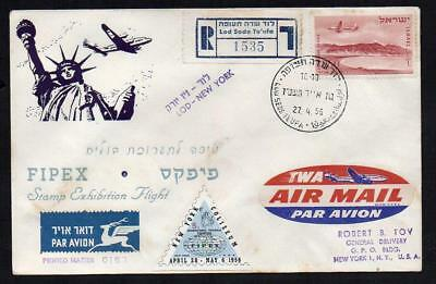 AVIATION HISTORY ISRAEL to NEW YORK  FIPEX Stamp Exhibition Flight 27/4/1956(4d)