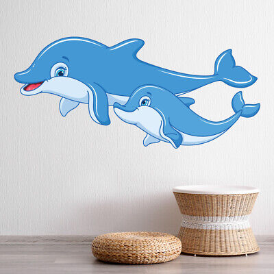 Cute Dolphins Wall Sticker Under The Sea Animals Wall Decal Nursery Home Decor