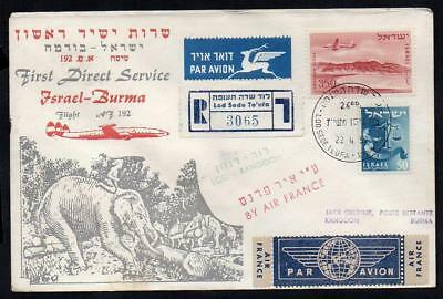 AVIATION HISTORY ISRAEL to BURMA  1st DIRECT Flight AIR FRANCE 22/4/1957   (16d)