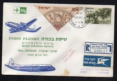 AVIATION HISTORY ISRAEL to SWITZERLAND  1st  Flight  B.E.A. 1/4/1958   (21d)