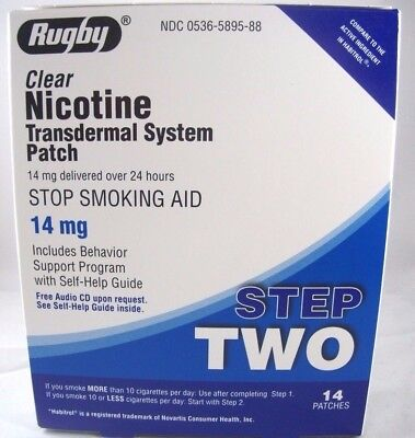 Rugby Step2- Stop Smoking Aid Patch Clear Nicotine Transdermal System 14mg, 14ct