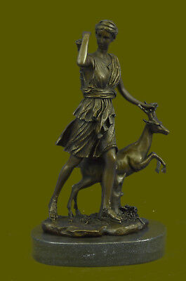 "Rare Sculpture Large Vintage French ""Le Faguays"" Goddess DIANA Gift Bronze Decor"