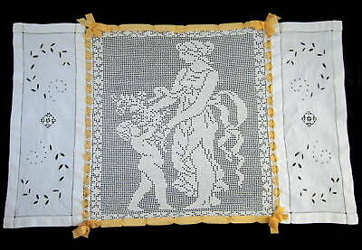 Exquisite Antique Italian Figural Lace & Embroidered Linen Runner w/ Ribbon Work