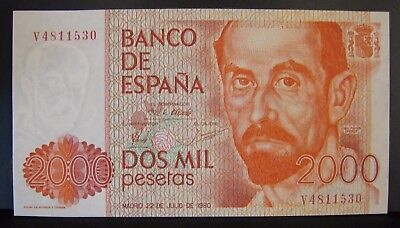 1980 Spain, Bank of, 2000 Pesetas CU Note Nice     ** FREE U.S SHIPPING**