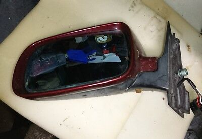 Audi A4 b5 model left hand electric mirror in metallic burgundy. 1994 to 2001