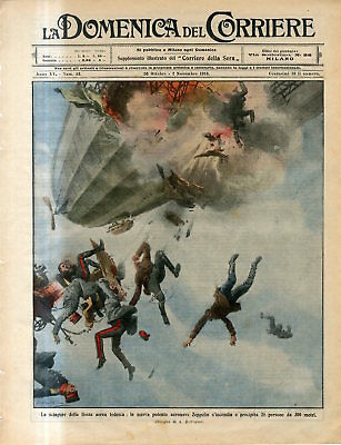1913 Powerful German airship Zeppelin catches fire 300 people fall 300m Print