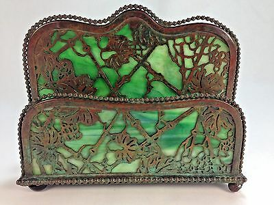 Antique Tiffany Studios Patinated Bronze Beaded Double Grapevine Letter Rack