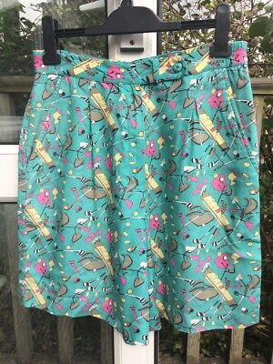 HEAD Vintage Turquoise Golf Theme Culottes Shorts 90s Rayon UK 14 US 10 Euro 42