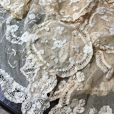 Lot Antique Brussels Princess Lace Lot Placemats Coasters Doily Table Runner