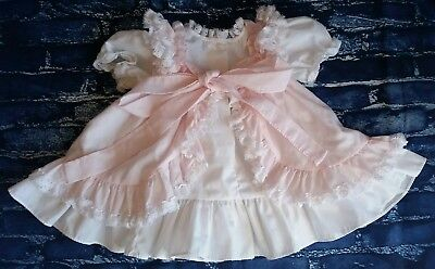 Adorable Vintage Layered Pink Ruffles And Lace Infant Toddler Little Girls Dress