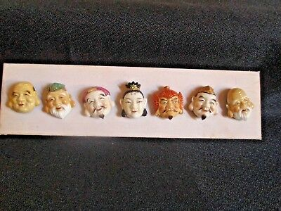 Set Of The Seven Immortal Gods Toshikane Arita Porcelain Buttons On Wood Board