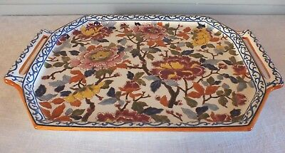Gien peonies large tray octagonal earthenware tray