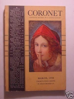 CORONET March 1938 Mar 38 SHERWOOD ANDERSON CHRISTOPHER MORLEY JO SINCLAIR +++