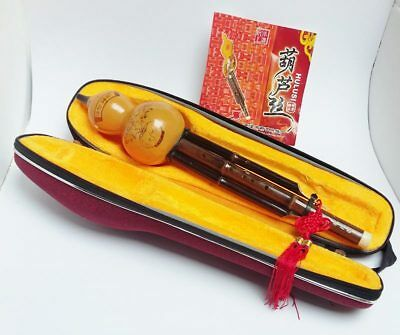 Hulusi Gourd Chinese Woodwind Musical Instrument Bamboo Flute Case & Strap