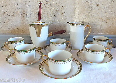 Limoges hot chocolate pot frother saucers coffee milk service 15 parts