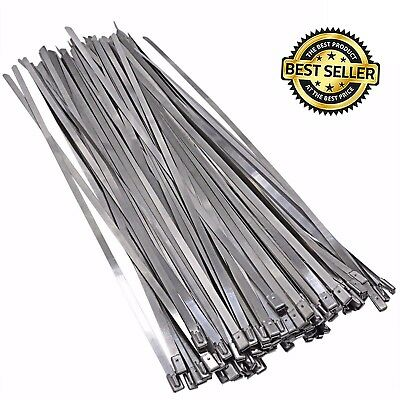"10PC STAINLESS STEEL 45/"" LENGTH EXHAUST HEADER ZIP TIE STRAP BAND 1//2/""W 12x1150"