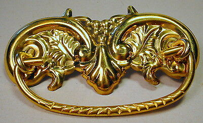 """Stamped Brass Handle Bale Drawer Pull Handle 3"""" Center Bore Made in Taiwan NIP"""