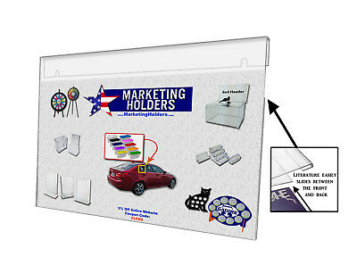 Wall Mount Ad Frame, Sign Holder 14 x 8.5 Inches, Clear Acrylic (Lot of 12)