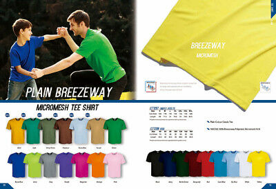 New Unisex Adults Plain Colour Quick Dry Classic Micromesh Tee Shirt Jersey Tops