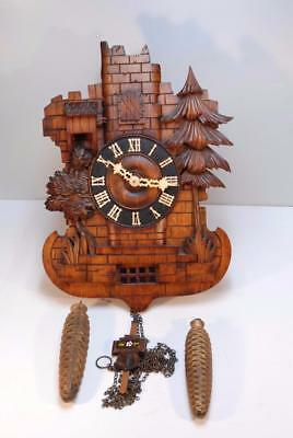 Rare Antique 4 Bellow Twin Bird Shield Cuckoo Clock, Beha?