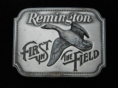 Qj03119 Vintage 1980 **remington First In The Field** Gun & Hunting Belt Buckle