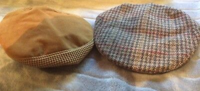 Vintage Mens Caps X 2 Original Tweed Cap Driving England Wool Morris