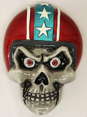 Lethal Threat 3D Stick on Coloured Skull & Helmet Emblem Cruiser Motorcycle