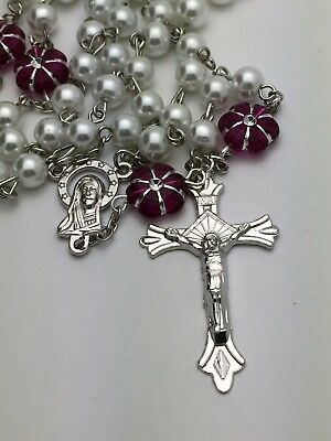 White Pearl and Purple Flower Catholic Rosary Beads