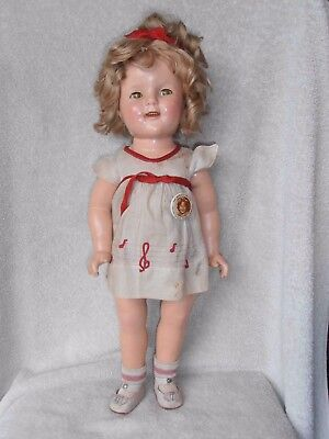 """Vintage Shirley Temple Composition Doll 18"""" aUTHENTIC ALL Original + Pin"""