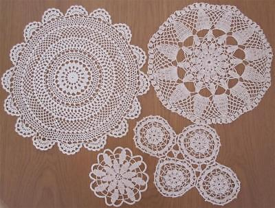 Four Vintage Hand Crochet DOILIES Variety Plus 'Never Used'